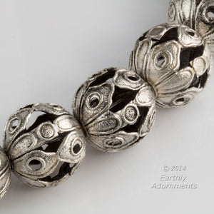 Silver plated open work bead. 16mm. Sold individually. b18-436(e)