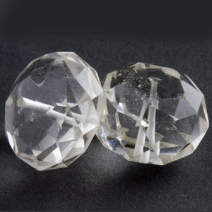 Vintage carved quartz crystal faceted wheel avg size 25x16mm 1 pc. b4-qua345-1
