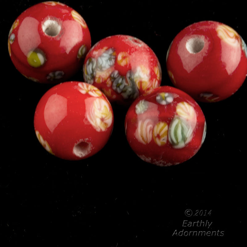 Vintage Japanese millefiore cane scarlet red rounds. 8mm. Package of 6. B11-rd-0875(e)