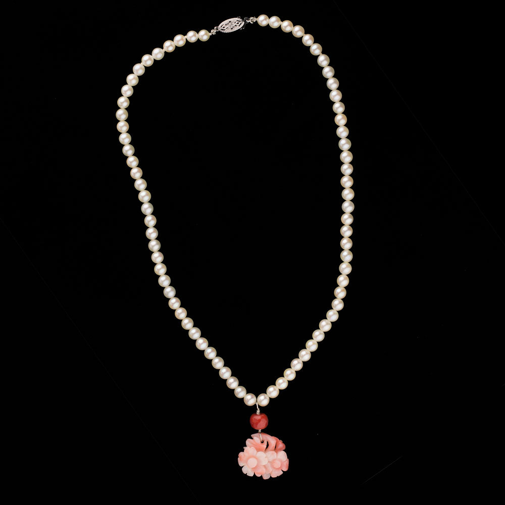 Estate Japanese Ocean Water Akoya 5mm pearl necklace with carved angelskin coral pendant. nlja878e