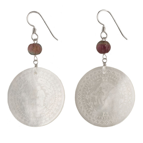 eror476(e)- Antique Chinese mother of pearl gaming counter earrings with watermelon tourmaline and sterling silver.