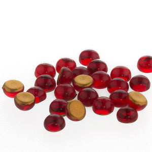 Vintage glass cabochons. Tiny Siam ruby red rounds. 4mm. Package of 20. b5-927(e)