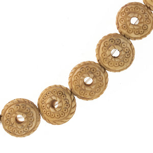 Fancy carved bone disk beads with center hole, 12x7mm. Package of 2. b3-bo186
