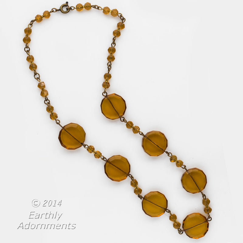 nlad874(e)-Vintage Art Deco Bohemian amber glass bead necklace