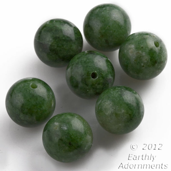 b4-jad427-Vintage dark mottled green jade rounds from the 1960s-70s 10mm 8pcs