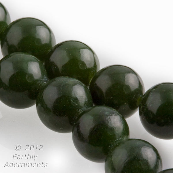 b4-jad428-Vintage natural dark green nephrite jade rounds 10mm, pkg of 6