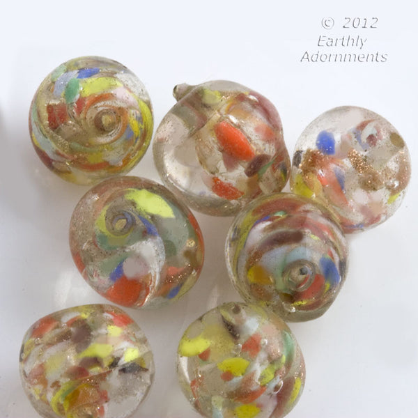 B1-715-Vintage Murano sommerso glass beads, 7mm, 4 pcs