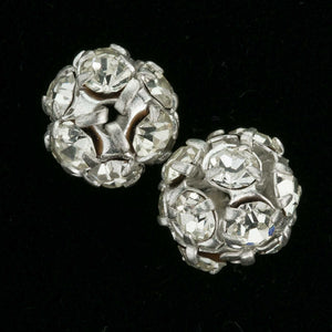 Vintage silver metal prong-set rhinestone ball beads 9mm, 2 pieces. b18-587