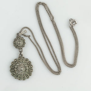 Vintage sterling silver and marcasite earring and pendant duo, signed KD Sterling. ervs874dm