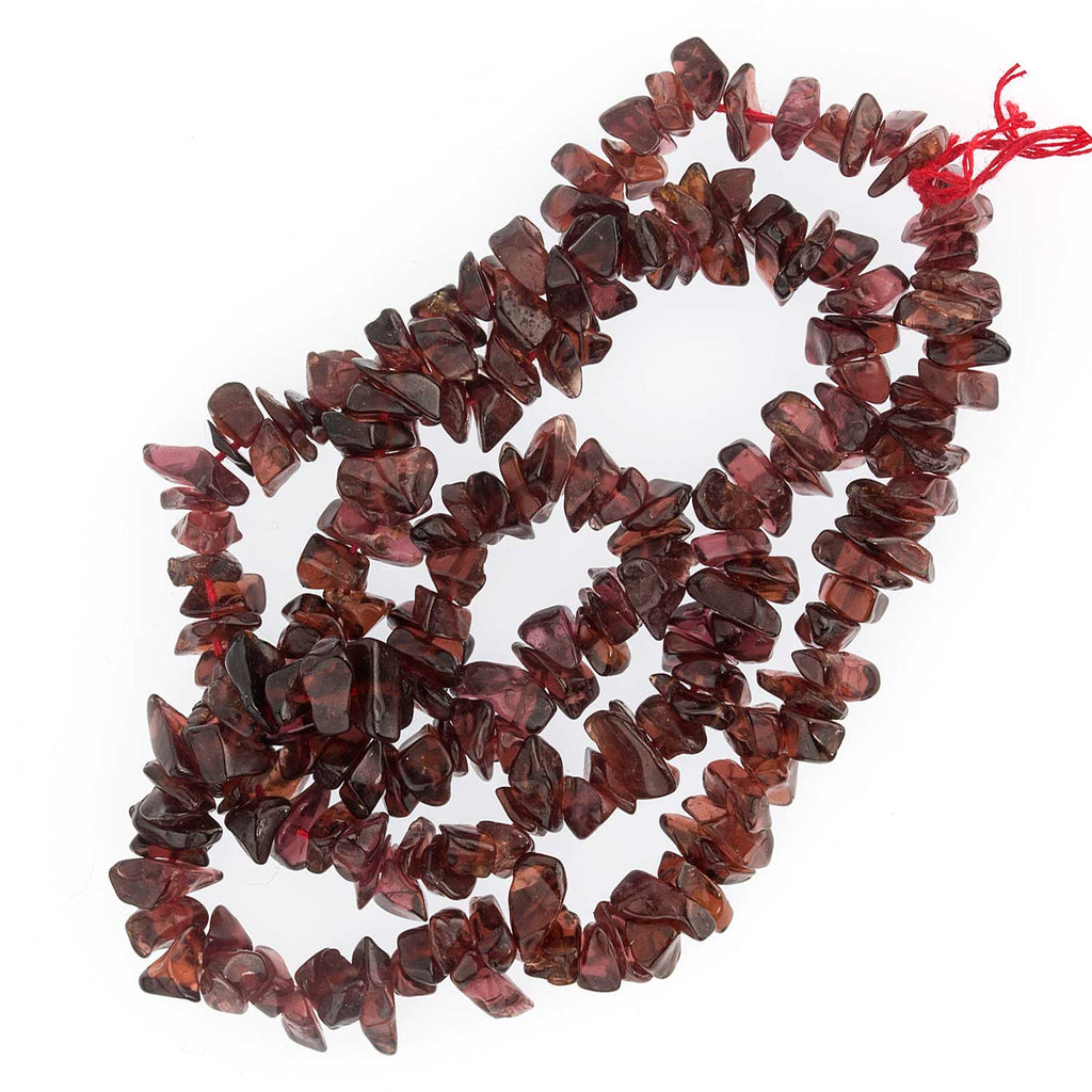 16 inches of old stock India Almandine garnet flat chip beads. b4-gar211