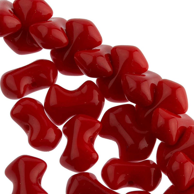 Vintage Czech Interlocking Lipstick Red Bowtie Beads. 10mm long. Pkg of 50. B11-RD-0439