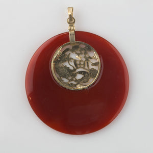 Vintage carnelian agate disk pendant with silver vermeil inset and bail. 51mm diameter . b4-car297(e)