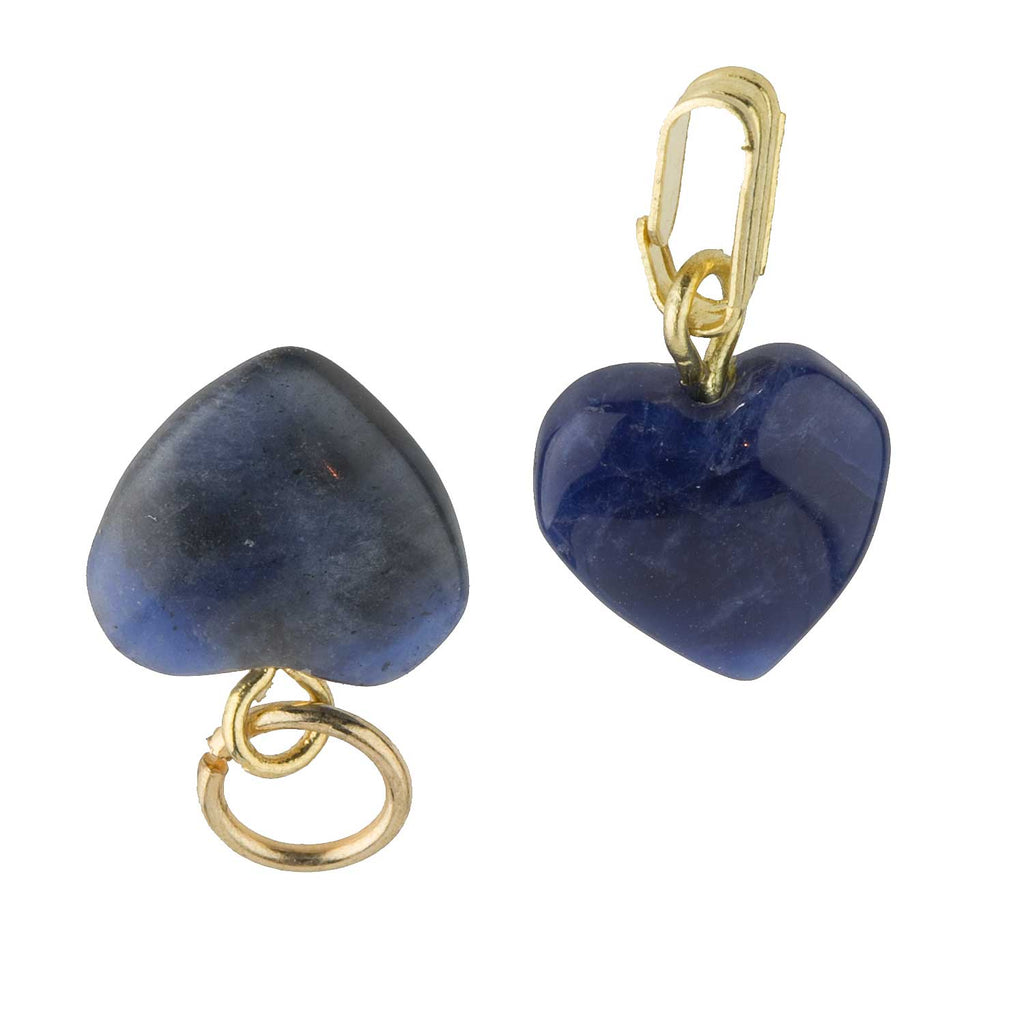 Vintage stock sodalite carved heart charms with bails.10mm. Pkg of 2. b4-sod126(e)