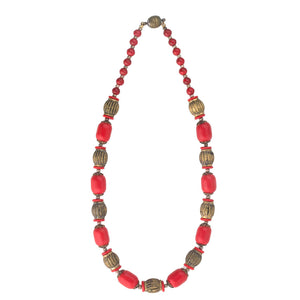 Art Deco red glass and brass bead necklace Czechoslovakia. nlbg1065