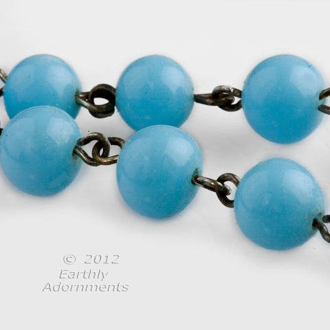 Vintage turquoise glass 8mm bead chain, 25 beads per foot. Sold