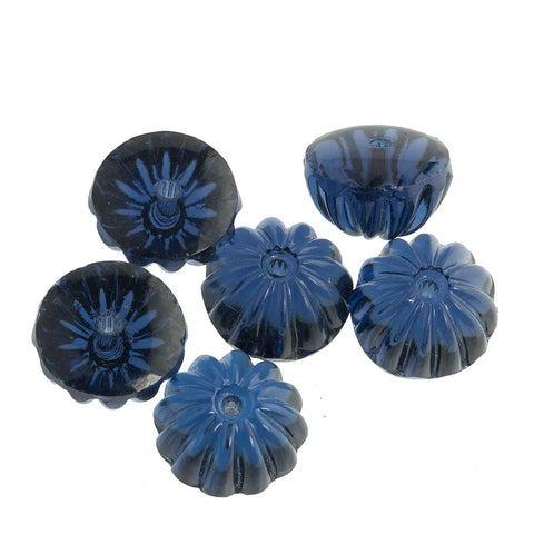 Vintage fluted half rounds in sapphire. 5x10mm. Pkg of 6. b11-bl-1016(e)