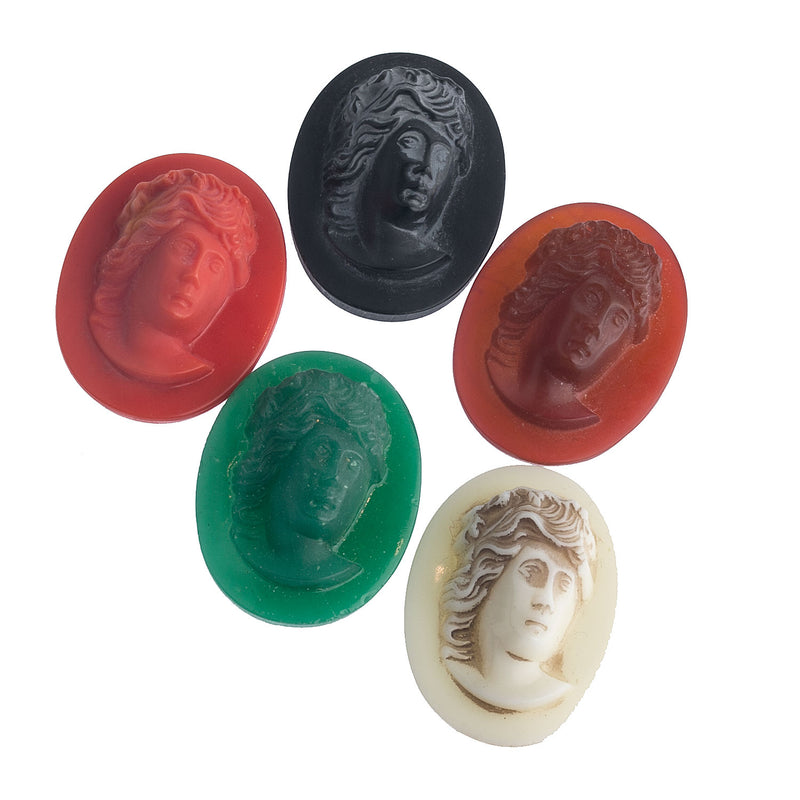 Group of 5 vintage high relief molded glass flat back cameos in various colors 33x26mm. b19-889