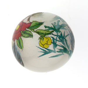 Vintage Chinese reverse hand-painted 24mm round glass bead-Rooster. Sold individually. b10-0008q(e)