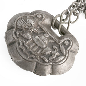 Antique Qing dynasty Chinese puffy silver lock necklace with Dragonfish at Longmen gate. nlor817