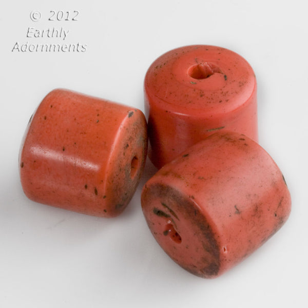 Antique Sherpa coral disk beads.average 19-21mm diameter. Sold individually. b11-rd-0825(e)