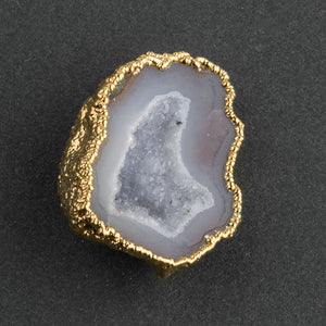 Vintage gold plated geode pendant with bail. b19-717