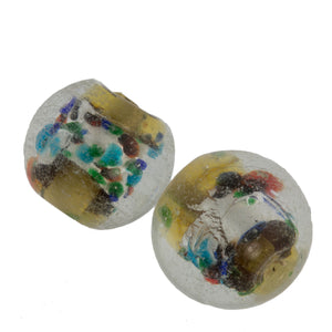 clear glass with olive core wrapped in foil, flecks of teals and blues. 12mm. Pkg. of 2. B1-433-1(e)