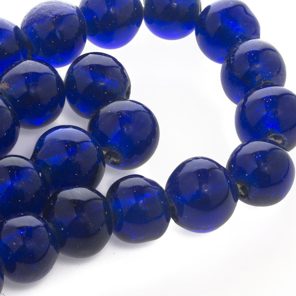 "Rare old Chinese translucent cobalt ""Peking Glass"" beads. 11x14mm. 1 pc. b11-bl-2125(e)"