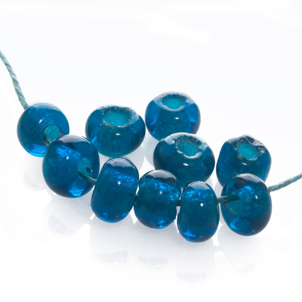 Antique Chinese translucent teal blue Peking Glass beads avg. 6x8 mm. 10 pcs. b11-bl-2126(e)
