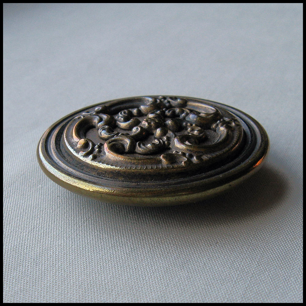 Vintage brass and steel ornamental button, 1 3/8 inch diameter.  btvn767