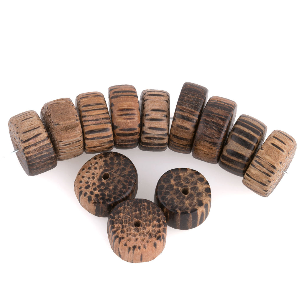 Palmwood flat round disks. 14x8mm average size. Pkg of 10. B7-WO113(e)