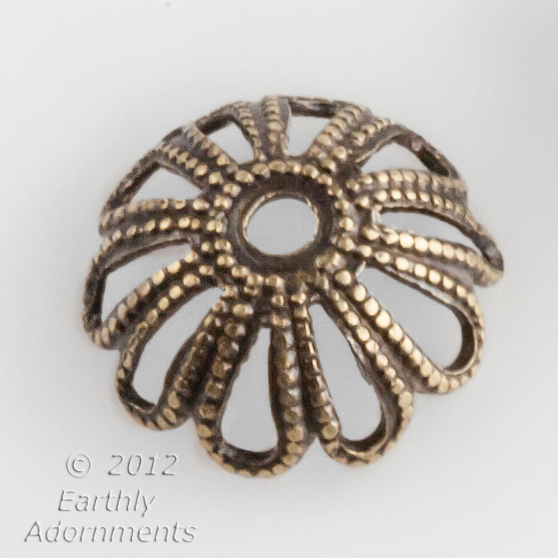 Oxidized brass filigree bead cap 9x3mm. 12 pcs. b9-2372(e)
