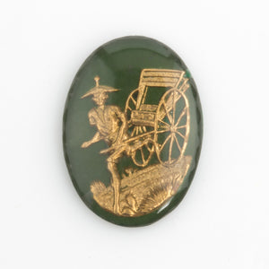 Chinese rickshaw carrier intaglio cabochon. Sold individually. 25x18mm. b5-949(e)