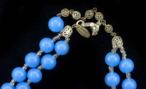 Signed vintage Miriam Haskell two strand necklace in Peking glass and crystal. nlcs811e