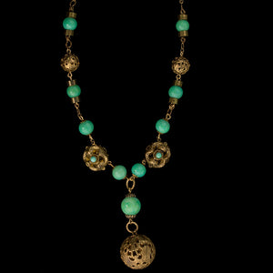 Art Deco gilt brass Peking glass lavalier necklace. nlbg2073