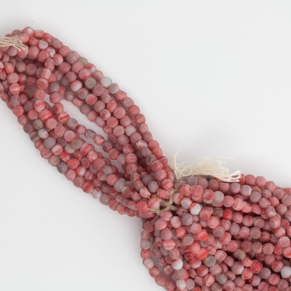 b17-256- Antique Bohemian smooth domed white and red nailheads, 3mm. Average 95 beads per strand.