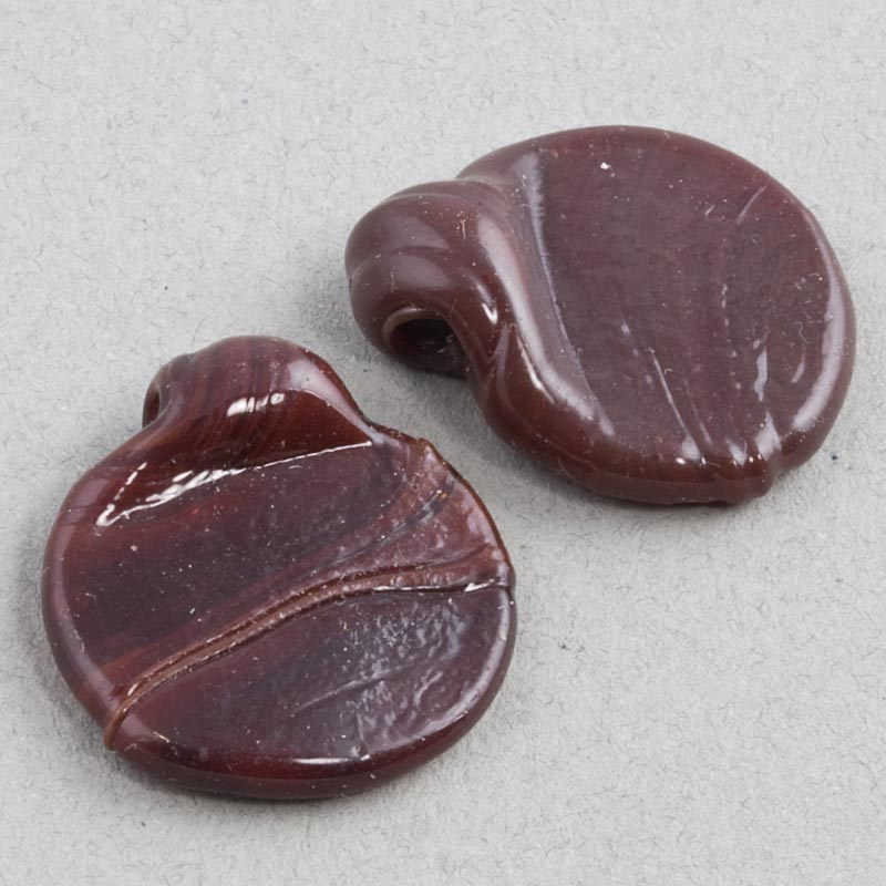 Vintage chocolate glass disk pendants, hand-made India, 26x23mm pkg of 6. b11-br-0761