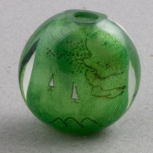 Reverse Painted Hollow Glass Bead, Heron on branch with green background, 28mm pkg of 1. B10-0008a(e)