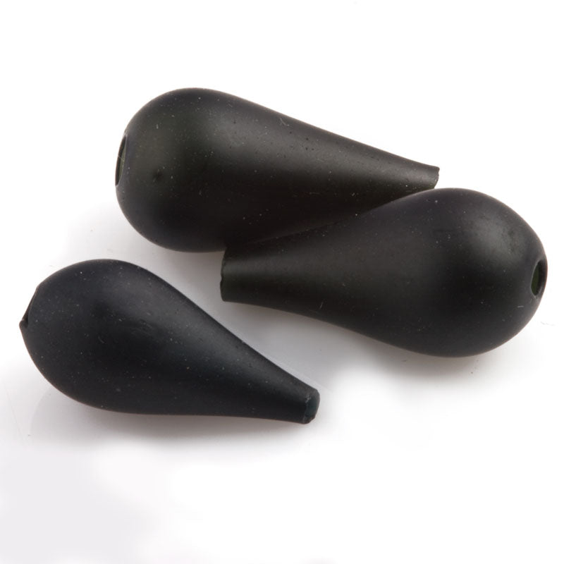Vintage Art Deco hollow matte jet satin glass teardrop, 1920s France 13x6mm, Pkg of 6. b11-bw-1038(e)