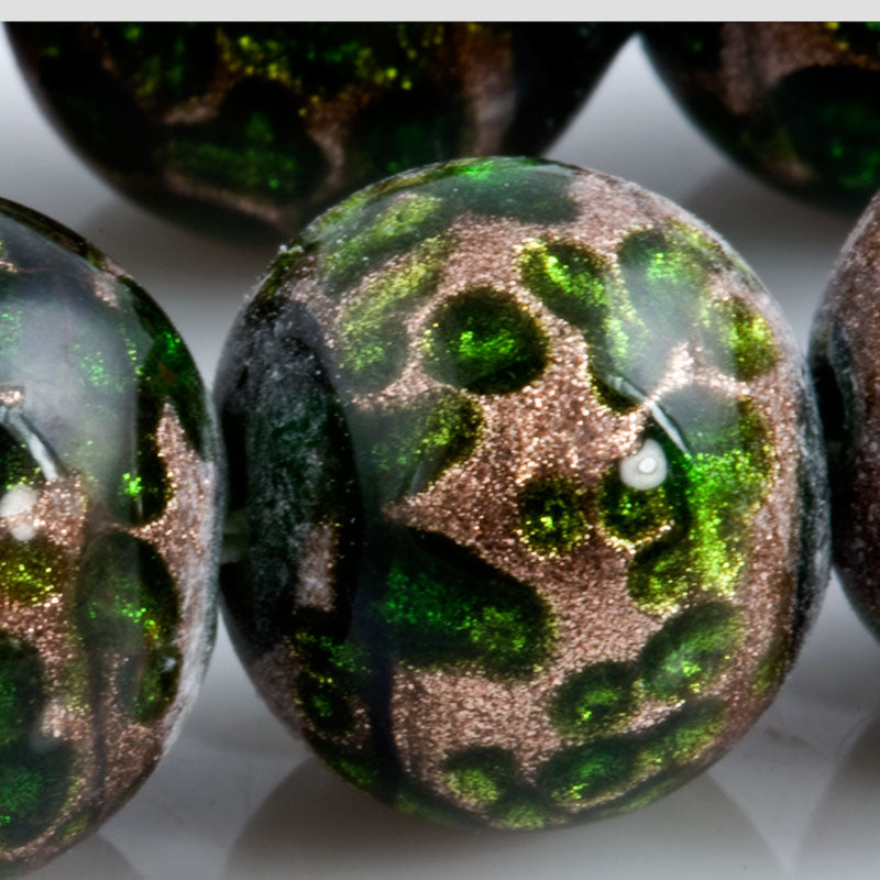 Vintage Japanese Green lampwork made for Coro, 12mm, sold individually. b1-612(e)