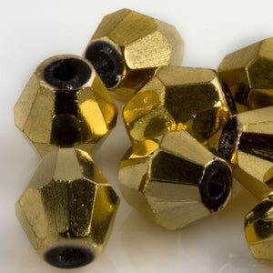 Vintage gold coated faceted black glass bicone, 8x6mm Pkg of 10. b11-yo-0948(e)