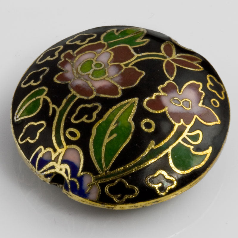 Cloisonne on brass disk bead. 35x10mm. Pkg of 1. b2-460(e)