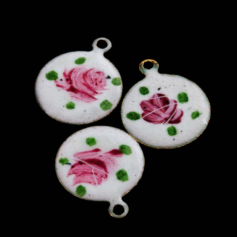 Vintage brass charm with enamel rose 11mm, Pkg of 2. b2-462(e)