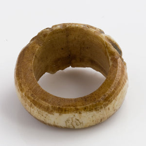rgiv123a-Vintage Tibetan carved yak bone ring, size 71/2