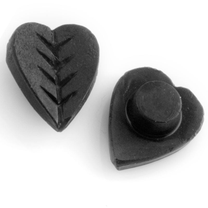 Antique French molded matte jet glass stone, etched heart shaped leaf. 12x10mm Pkg of 2. b5-661