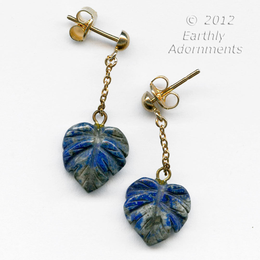 ervn920(e)-Vintage carved lapis earrings