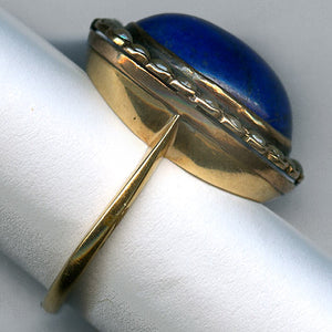 Victorian lapis and pearl ring. rgvc105