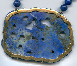 Vintage lapis dragon pendant necklace in 14k setting with lapis beads. nlfn108