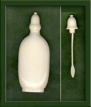 MIIV101-Vintage carved bottle with bottle top and spoon