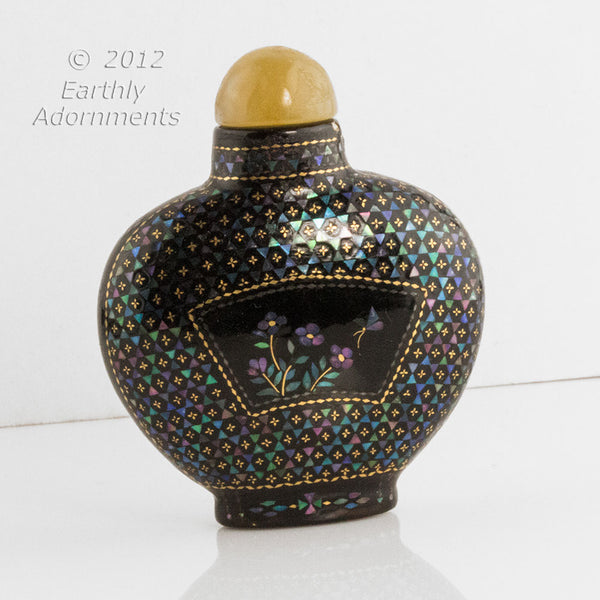 Mior254- Chinese lac burgauté snuff bottle Qing dynasty