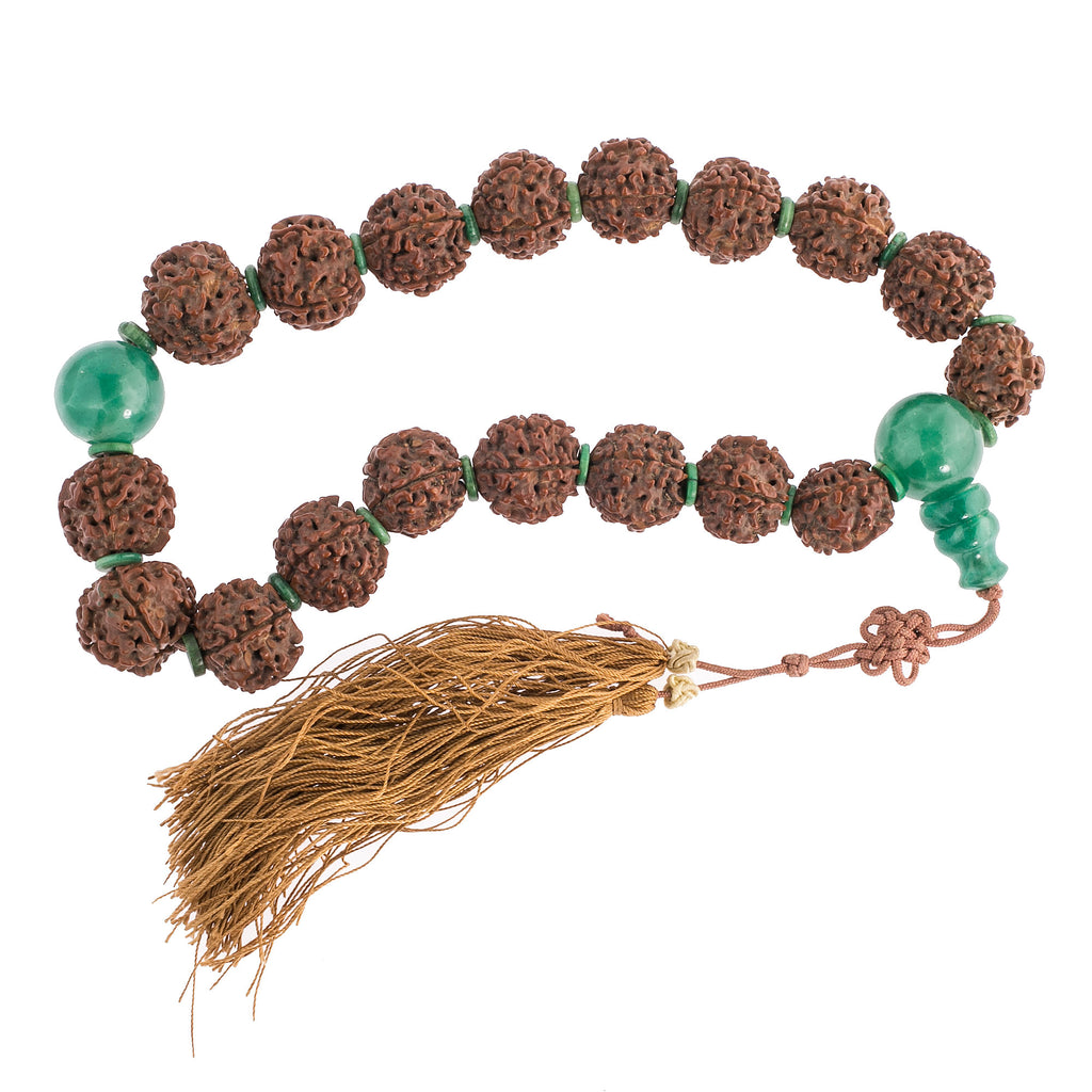 Old Buddhist mala of large dark Rudraksha beads and Peking glass.  mior256